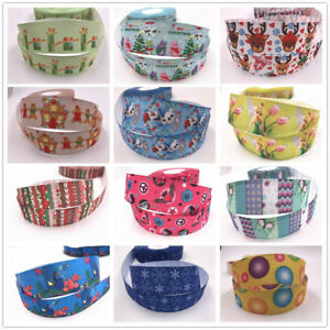 Wholesale-5-yds-1-039-039-printed-grosgrain-ribbon-Hair-bow-sewing-Craft-Ribbon