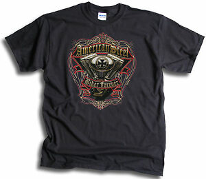 American-Steel-USA-Biker-Forever-Mens-T-Shirt-Sm-3XL
