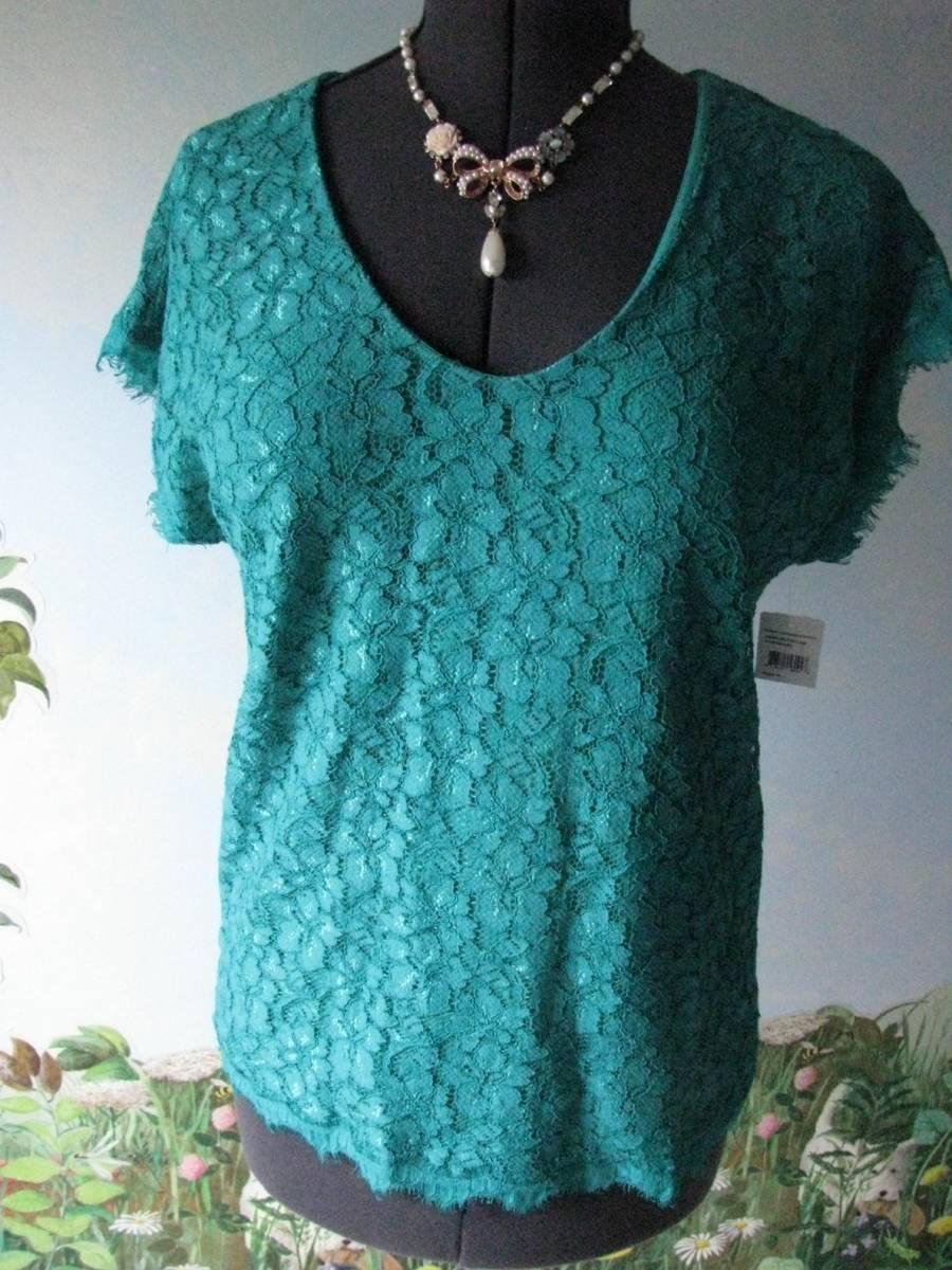 Diane von Furstenberg Grün Lace Top Blouse Größe Medium New