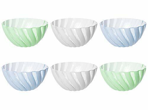 Small Set of 6 Durable Plastic Salad BBQ Food Prep Servig Mixing Bowls 54 oz