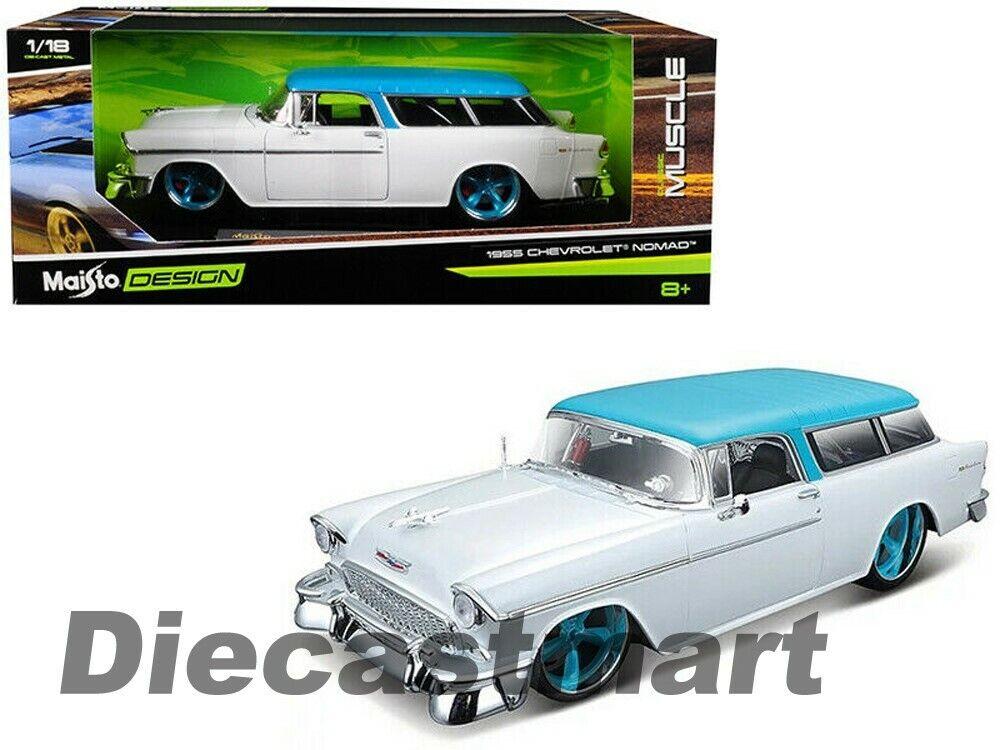 Maisto Design 1 18 Classico Muscolo 1955 Chevrolet Nomad Bianco  Turchese 32613WH