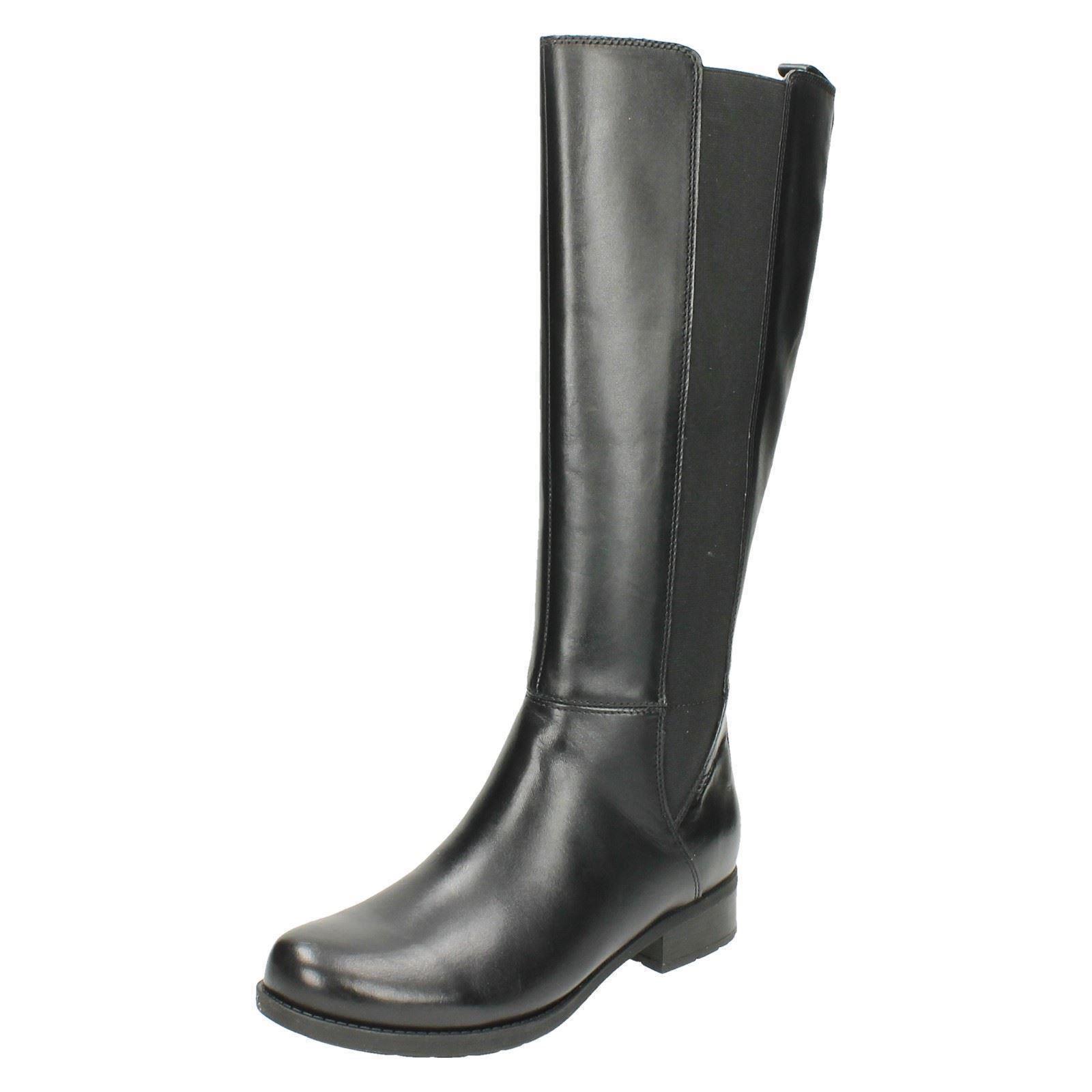 LADIES CLARKS LEATHER LONG LEG ZIP ELASTIC VERLIE LOW HEEL WINTER Stiefel VERLIE ELASTIC GAIL 14ef22