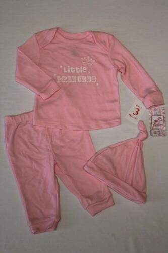 NEW Baby Girls 3 Pc Layette Set 3-6 Months Top Shirt Pants Hat Outfit Princess