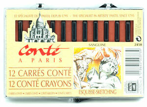 Conte-a-Paris-Carre-Crayons-2-1-2-034-x-1-4-034-Square-Sticks-Sanguine-12pcs