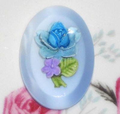 #204J Vintage Cabochon floral Bouquet Flowers Wedding Cake 25x18mm NOS Glass