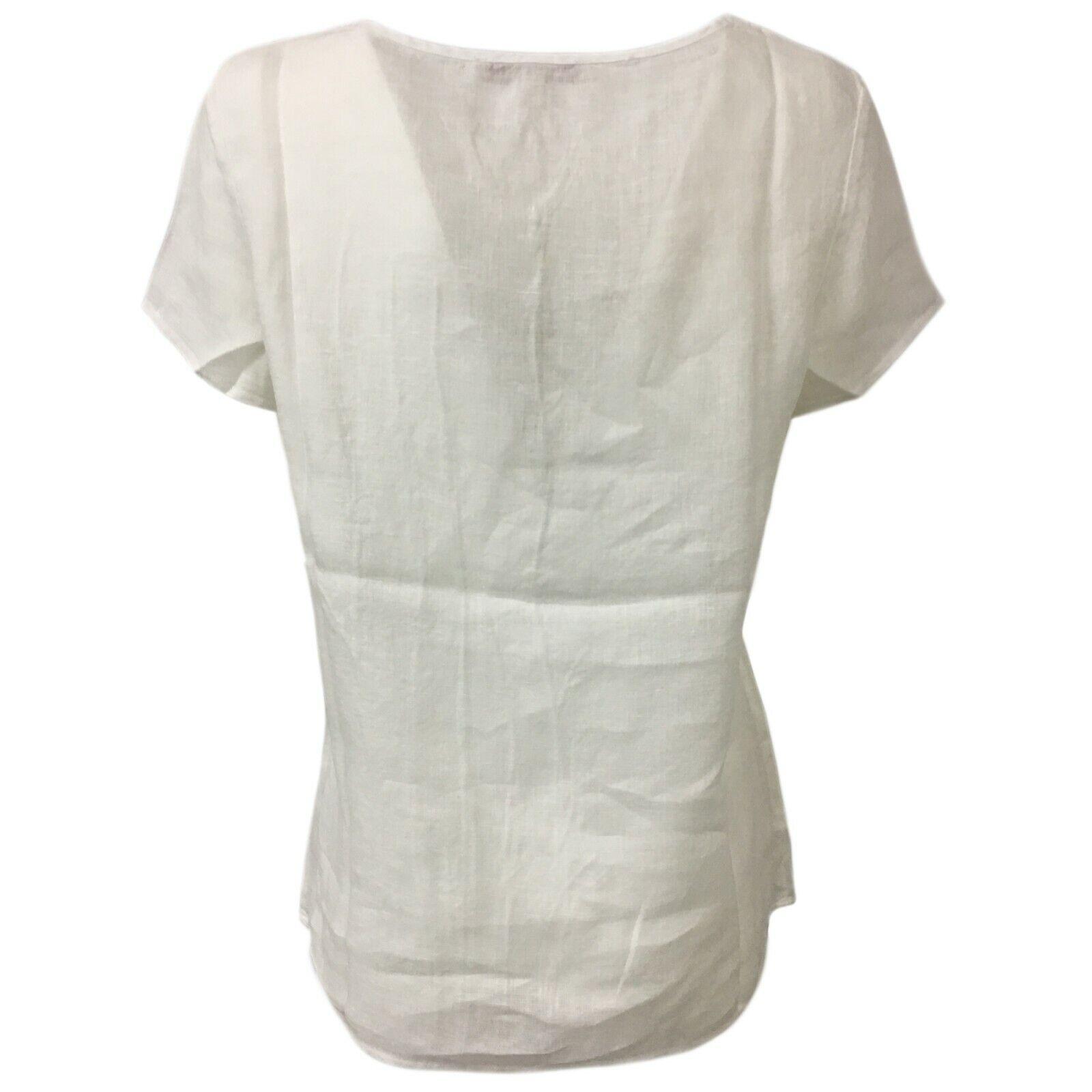 LA FEE MARABOUTEE blusa donna bianco con ricami art FB7129 FB7129 FB7129 100% lino 3259e9