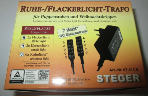 3,5 Volt Steger riposo-flackerlicht-Trasformatore per Bambole Case//Asili Nido 7 Watt