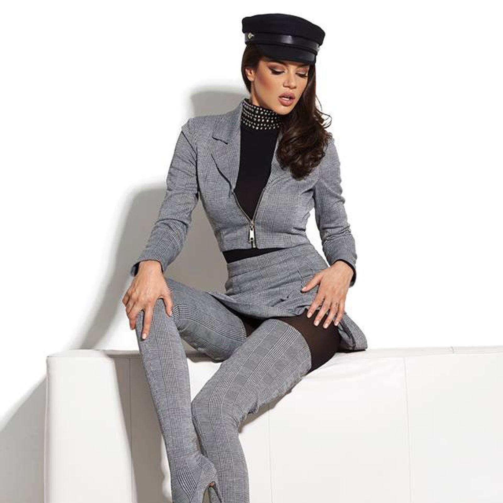By Alina sexy 2-Divisorio Blazer + MINIGONNA PENCILROCK Donna Giacca Gonna Grigio XS-M