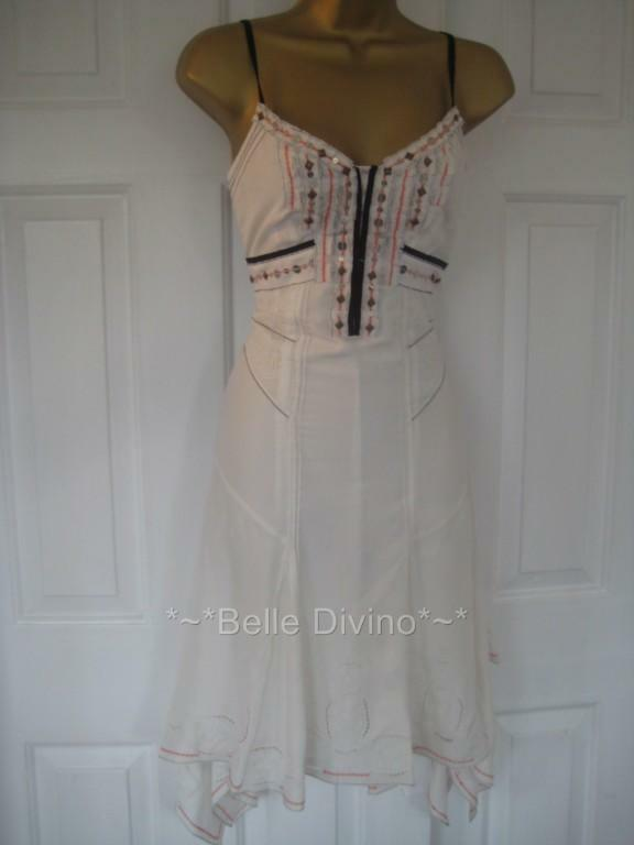 BNWT £140 Karen Millen Ivory White Floaty Silk Dress 6 8 10 12 Corset Wedding