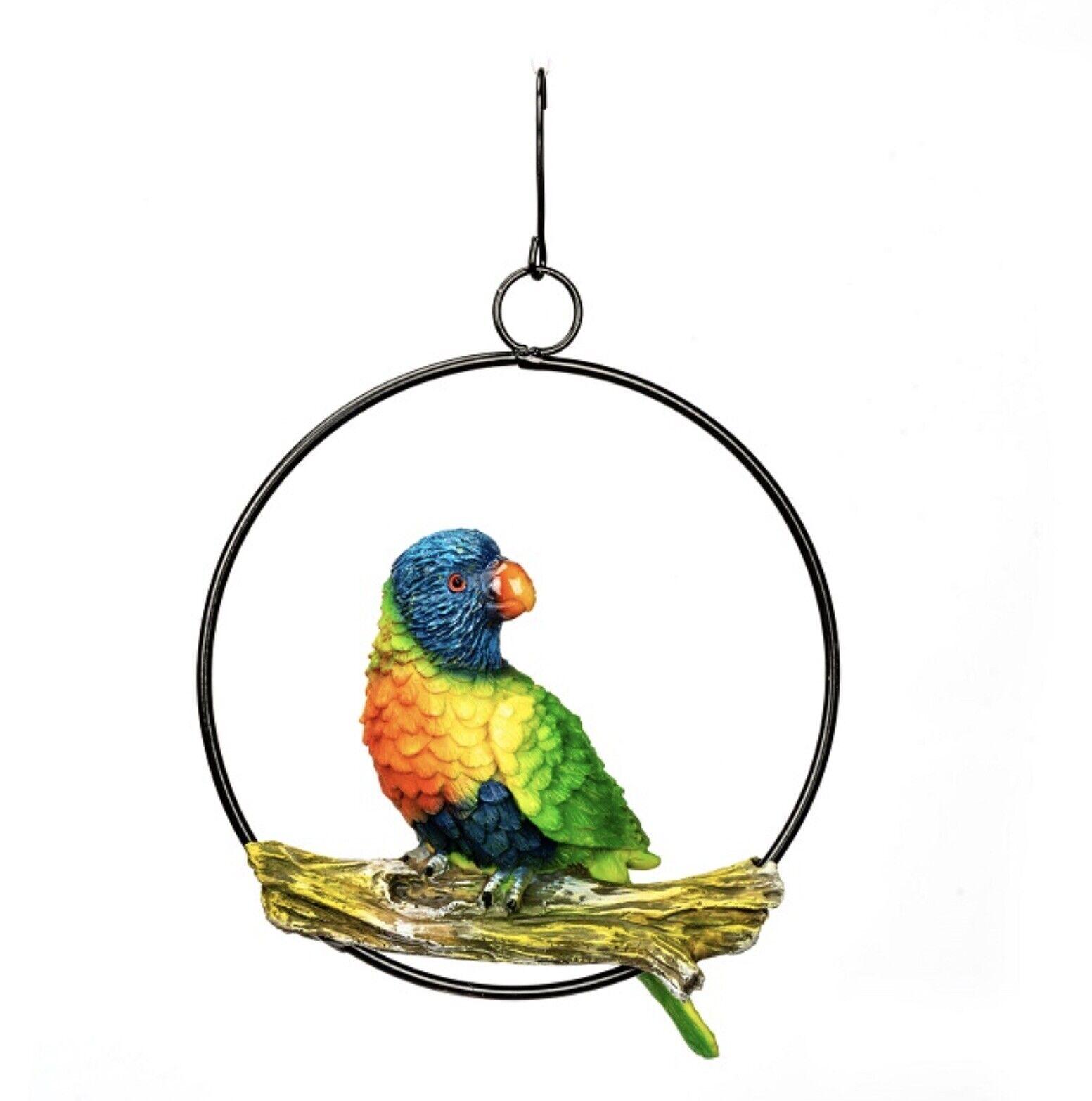 Parrot Bird on Metal Hanging Ring Australian Native Lorikeet