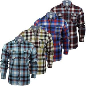 Mens-Check-Shirt-by-Lee-Cooper-039-Hadleigh-039-Long-Sleeved