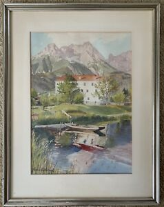 Original-Watercolor-Landscape-Painting-Signed-and-Framed-20-x-26-w-Frame