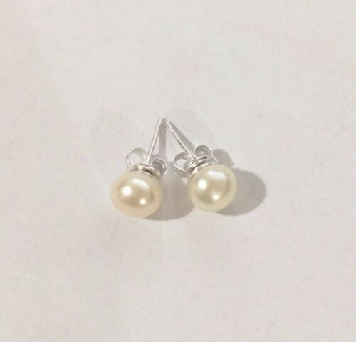 925 Sterling Silver 8mm Round White Freshwater Pearl Ball Studs Earrings Gift