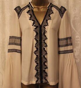 Karen-Millen-French-Lace-Applique-Pintuck-Ivory-Blouse-Shirt-Party-Top-UK-8-10