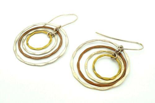 dramatic silver and copper Wabi sabi mixed metal earrings