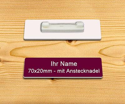Namensschild  mit Magnetbefestigung aus Aluminium  70x20 mm m.Gravur