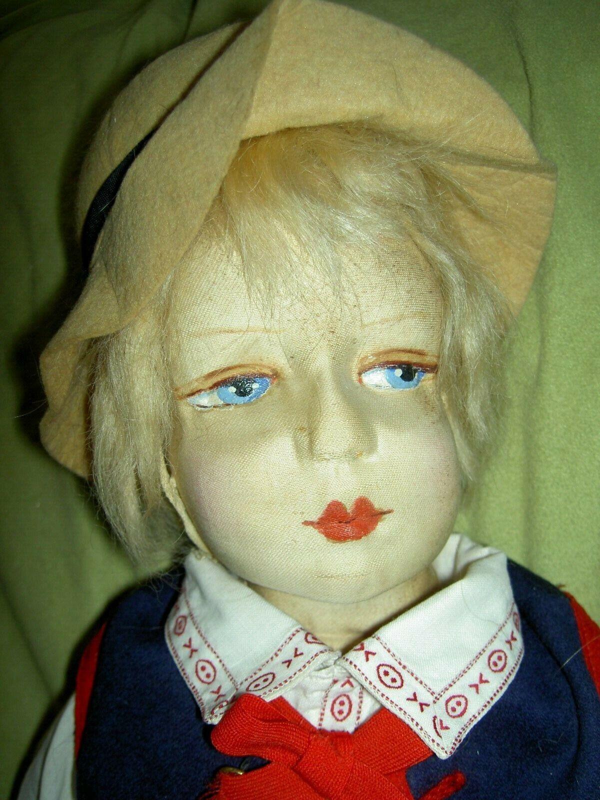 Very RARE, Gerling antique cloth, male boudoir bed bambola  c1927 great outfit XLNT  risparmia fino al 70% di sconto