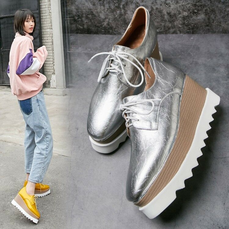 2019 New Platform shoes Women Ladies Fashion Real Leather Square Toe Wedge Heels