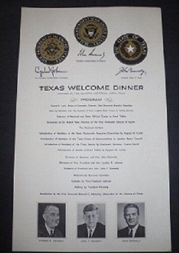 John F. Kennedy Assassination - Texas Welcome Dinner Program