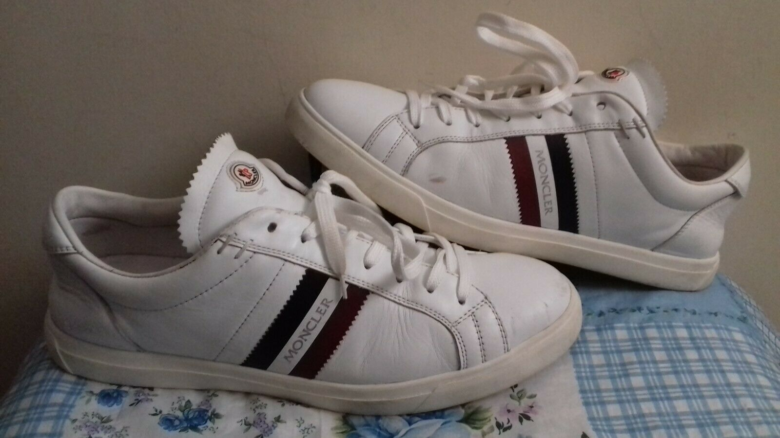 Moncler White Leathers Trainers UK 10 EU 44 VGC