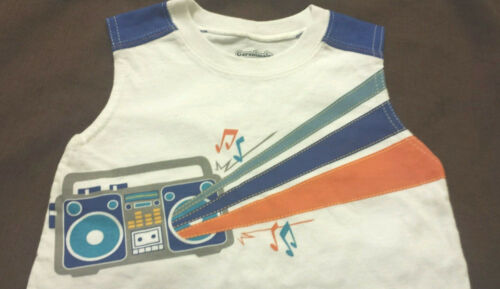 Boys Sleeveless Shirt White Tank Top Muscle Size 12 Months 18 Months