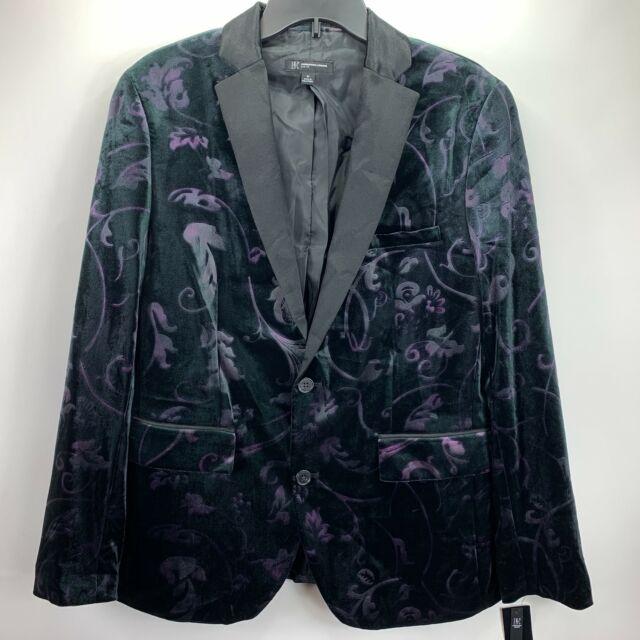 INC International Concepts Mens Slim Fit Velvet Floral Blazer Black M