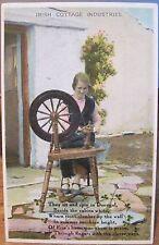 Vintage Postcard IRISH COTTAGE INDUSTRIES Woman Spinning Wheel Donegal Ireland