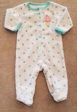 ADORABLE! CARTER'S NEWBORN TERRY CLOTH CUPCAKE FOOTED SLEEP N PLAY OUTFIT REBORN