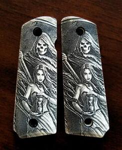 1911-custom-engraved-ivory-scrimshaw-grips-Grim-Reaper-Girl-Hourglass