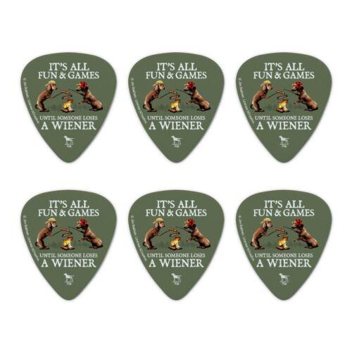 Set of 6 All Fun Until Someone Loses Wiener Dog Novelty Guitar Picks Medium