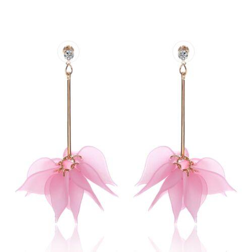 Elegant Crystal Flower Tassel Colorful Drop Long Dangle Party Wedding Earrings