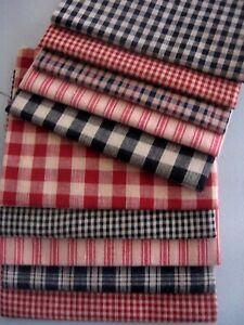 Primitive-Cotton-Craft-Plaid-Ticking-Red-Black-Rag-Quilt-Homespun-Fabric-Scraps