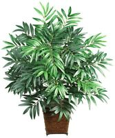 Nearly Natural 6556 Bamboo Palm With Wicker Basket Decorative Silk Plant, Green on sale