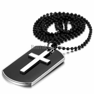 Men-039-s-Stainless-Steel-Black-Dog-Tag-Silver-Cross-Pendant-Necklace-w-Bead-Chain