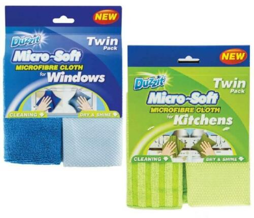 Twin Pack Microfibre Kitchen Cloths OR Window Cleaning Streak Free Duster Polish