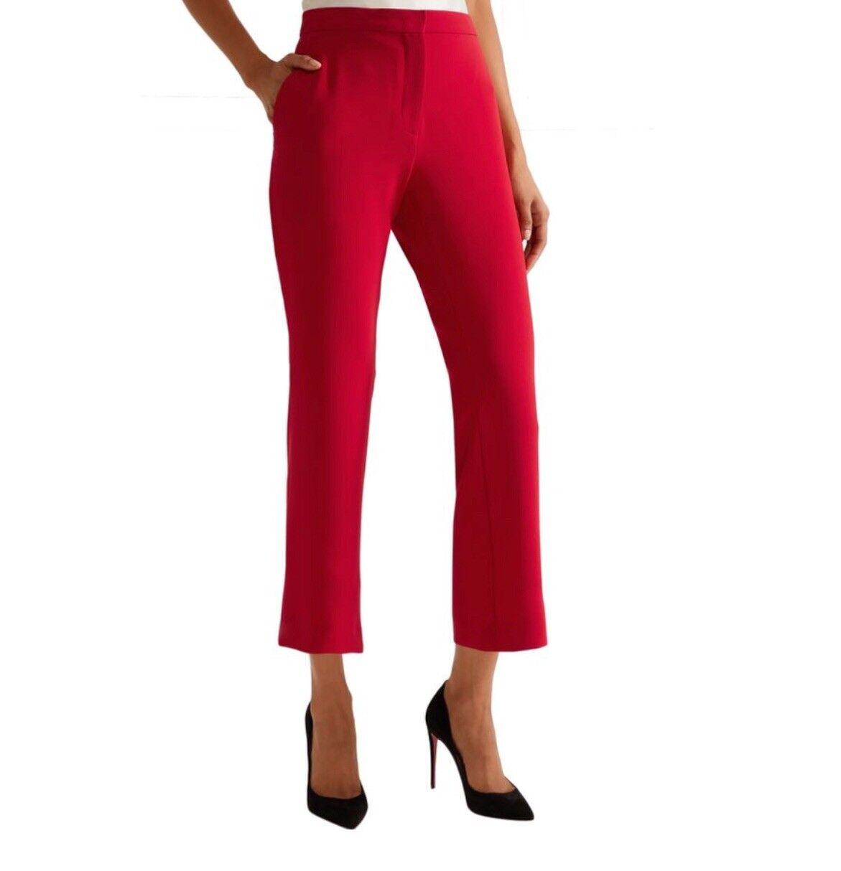 ALTUZARRA  Net A Porter Cropped Straight Leg Trousers rot S.38 Designer
