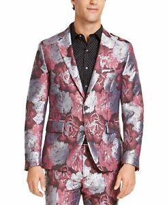 INC Mens Blazer Gray Pink Size Large L Rose Floral Jacquard Slim Fit $149 089
