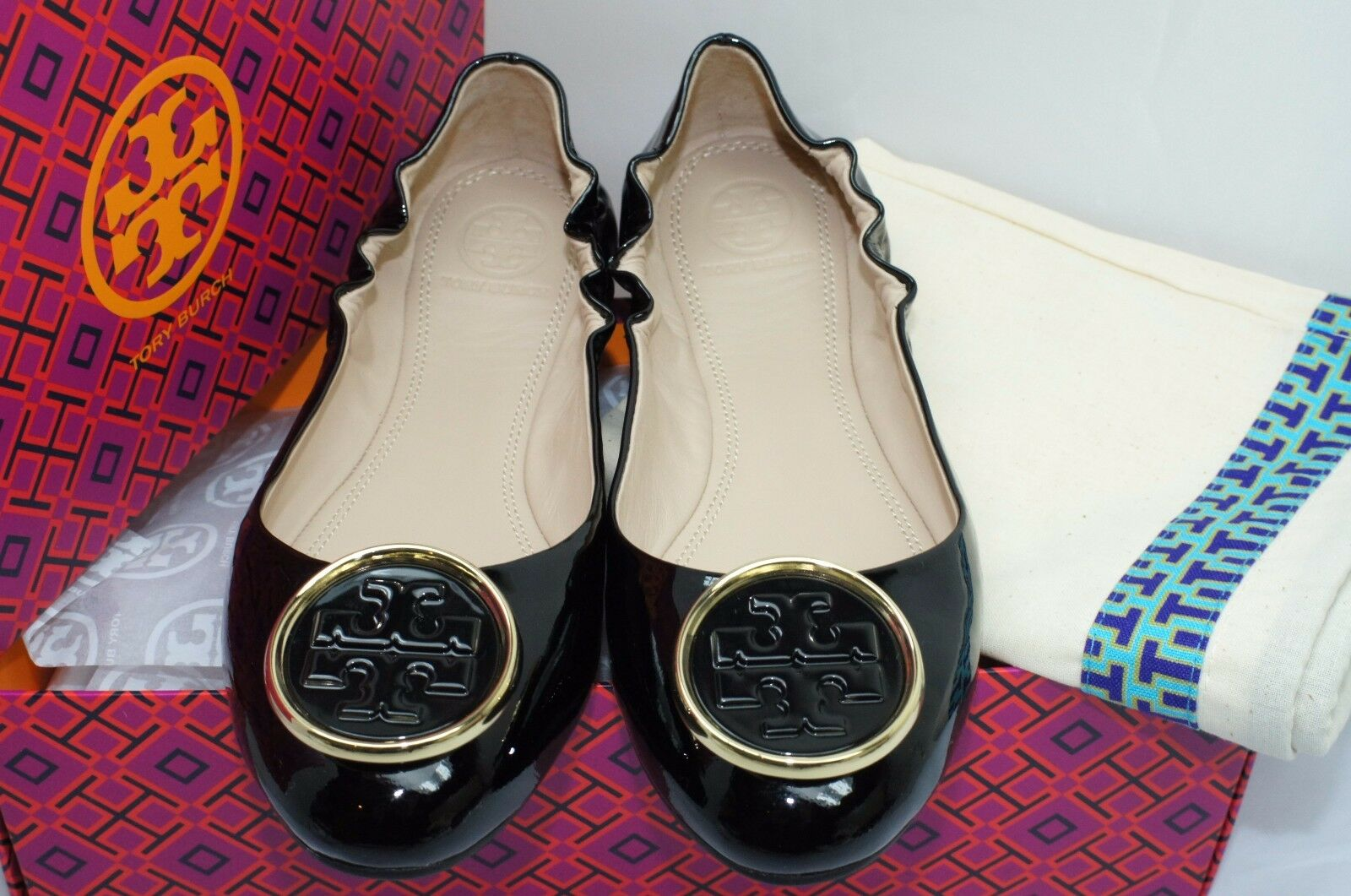 New Tory Tory Tory Burch Black shoes Twiggie Ballet Flats Size 7 Leather Sale Gift f573b5