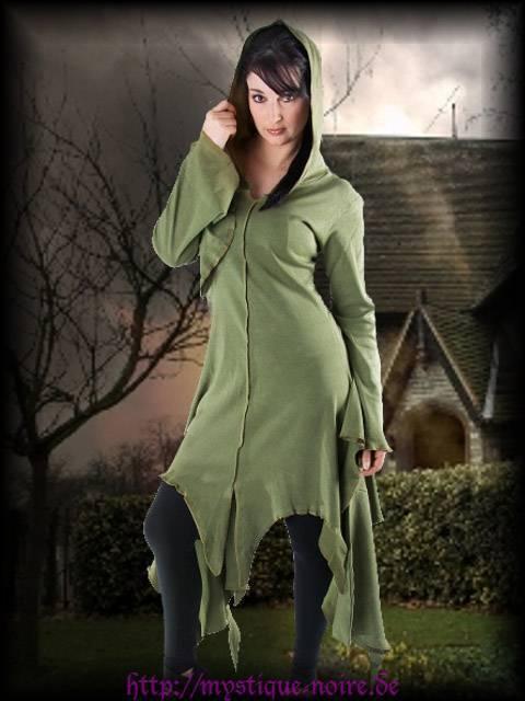 Gothic Wicca Zipfel Kapuzen Kleid oliv Elfe Hexe Hoodie 36 38 40 42