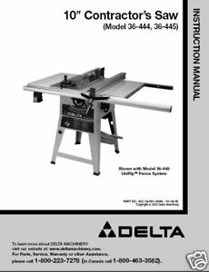 delta table saw 36 444 36 445 instruction manual ebay rh ebay com delta table saw manual 34-670 delta table saw manuals model 34-695