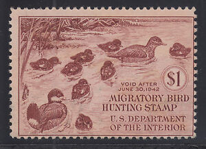 US Sc RW8 MNG. 1941 $1 Ruddy Ducks, Duck Stamp sound, usual centering