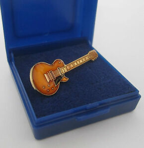 Electric-Guitar-Pin-Badge-Lapel-Brooch-Gibson-Les-Paul-Gold-Arch-Top-GIFT-BOXED