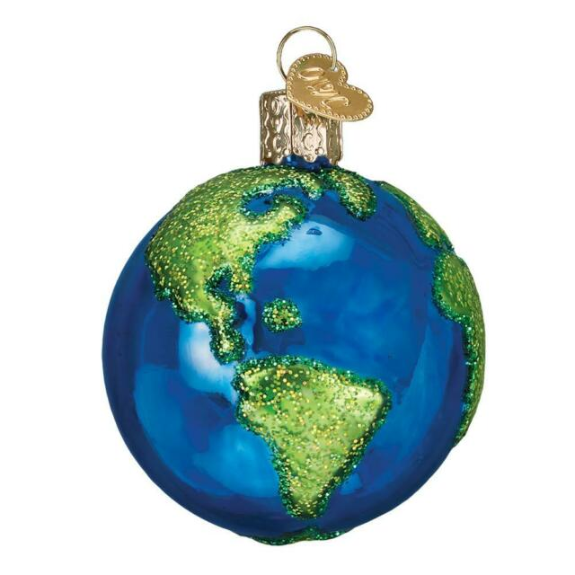 PLANET EARTH OLD WORLD CHRISTMAS GLASS ASTRONOMY SPACE ORNAMENT NWT 22038