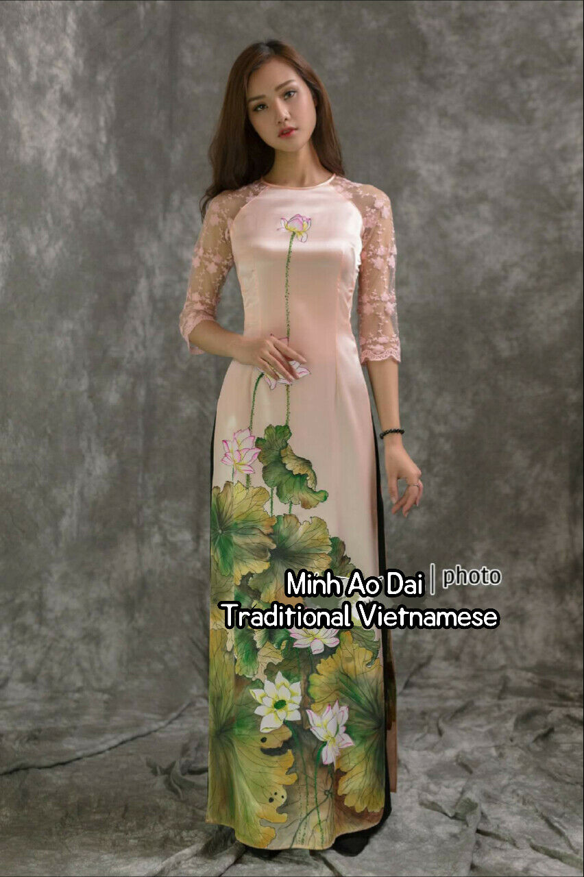 Pink Ao Dai Hand Drawn Lotus Traditional Vietnamese Authentic Handmade