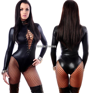 480ccd39f4 Womens Sexy PVC Faux Leather Wet Look Bodysuit Lace Up Teddy ...