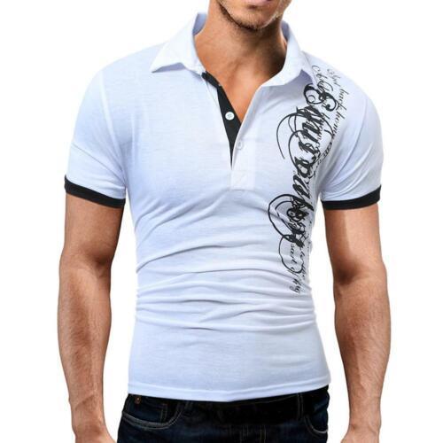 Men T-Shirt Short Sleeve Lapel Print Tight Fit Casual Summer Fashion Tops