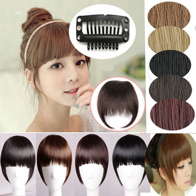 Girl One piece clip in hair extensions Bangs Fringe with hair bangs Fringe 4I6
