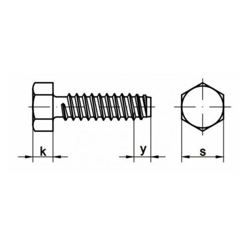 100x DIN 7976 Sechskant-Blechschrauben Form F 4.8 x 16 Stahl galv verzinkt far