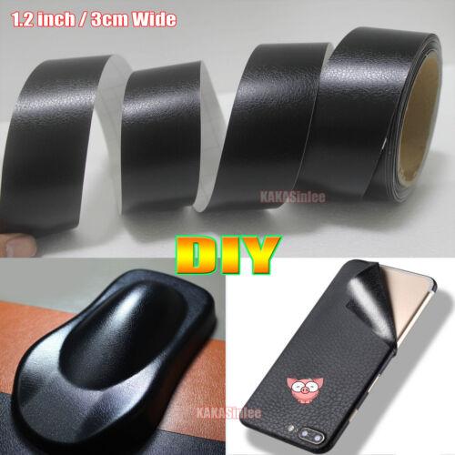 """1.2/"""" Wide DIY Black Matte Leather Grain Texture Vinyl Sticker Tape Car Wrap AB"""