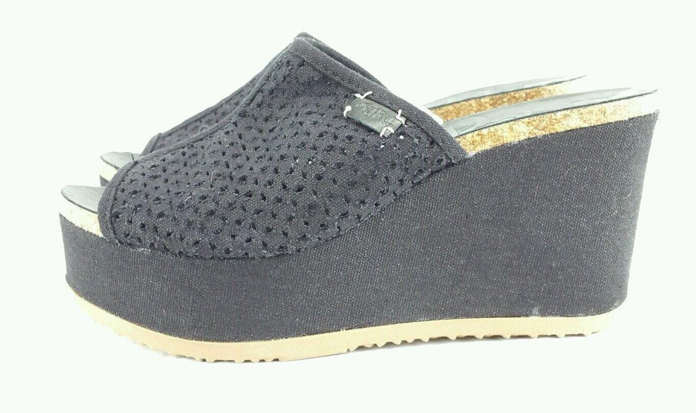 Mad Love Womens Black Slip Wedge Sandals Slip Black On b38319